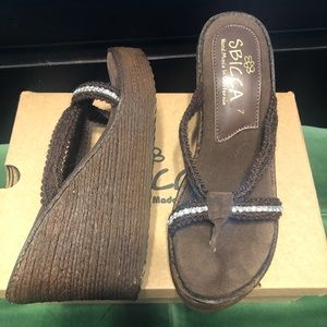 Sbicca Brown Jewel Wedge Sandals - Size 7
